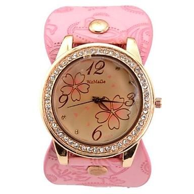 Mulheres Relógio Elegante Relógio de Moda Relógio de Pulso Quartzo Couro Banda Rosa