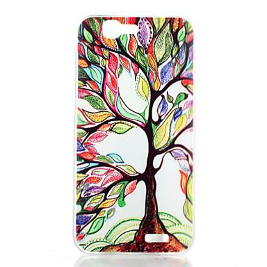 colored padrão árvores transparente caso de telefone PC material fosco para Huawei Ascend g7