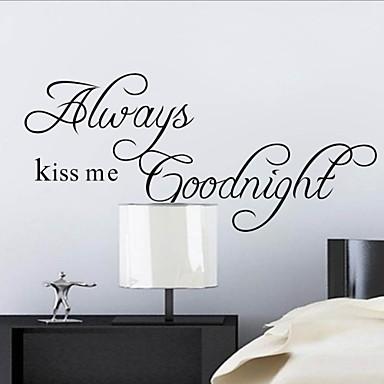 Beije-me sempre Goodnight decalque da parede Citação zooyoo2003 decorativo Adesivo de Parede Adesivo de parede amovível