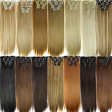 Clip In/On Straight Synthetic Hair Piece Hair Extension 2/33 #27/613 Auburn Dark Auburn 4/27H Daily