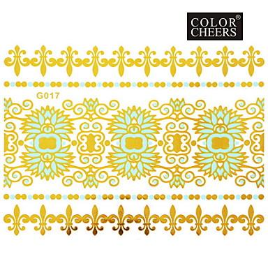 #(1) - #(15x11.5) - Χρυσό Σειρά Κοσμημάτων - Αυτοκόλλητα Τατουάζ - Μοτίβο - από Χαρτί για Γυναικεία/Girl/Ενήλικες/Εφηβικό