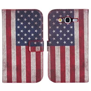 Para Samsung Galaxy Capinhas Porta-Cartão / Com Suporte / Flip / Estampada Capinha Corpo Inteiro Capinha Bandeira Couro PU SamsungGrand