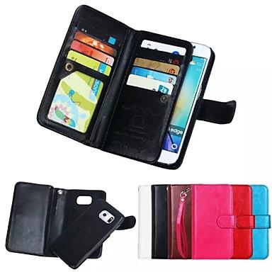 Capinha Para Samsung Galaxy Samsung Galaxy Capinhas Porta-Cartão Carteira Magnética Capa Proteção Completa Côr Sólida Macia couro legítimo