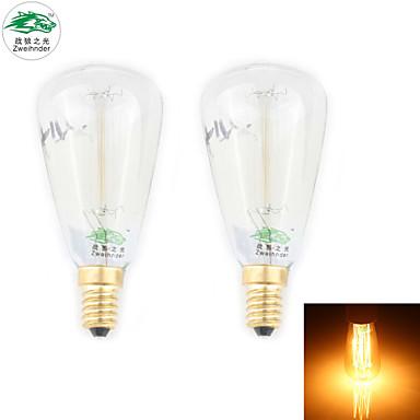 zweihnder E14 30W 400LM 2700-3000k incandescente de tungstênio luz de velas luz quente (novos produtos, ac 220-240V, 2pcs)