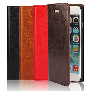 couro genuíno cavalo louco tampa articulada caso slot para cartão carteira com Suporte para iPhone 6 mais (cores sortidas)