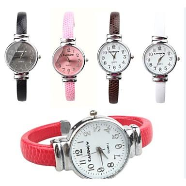 Modieus horloge Kwarts PU Band Zwart Wit Rood Bruin Roze