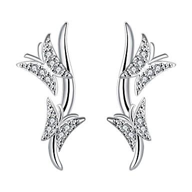 Oorknopjes Clip oorbellen Zirkonia PERSGepersonaliseerd Luxe Sieraden Zirkonia Kubieke Zirkonia Koper Verzilverd Dierenvorm Vlinder Zilver