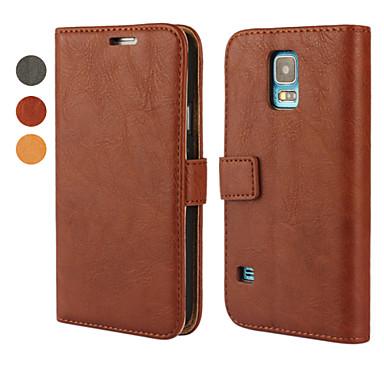 Para Samsung Galaxy Capinhas Carteira / Porta-Cartão / Com Suporte / Flip Capinha Corpo Inteiro Capinha Cor Única Couro PU Samsung S5 Mini
