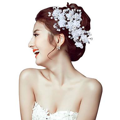 Mulheres Pérola Crostal Liga Capacete-Casamento Ocasião Especial Ao ar Livre Bandanas Flores Alfinete de Cabelo 2 Peças