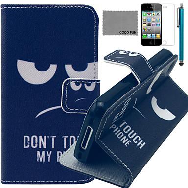 coco fun® wit rood voet patroon pu lederen tas met een screen protector en stylus voor de iPhone 4 / 4s