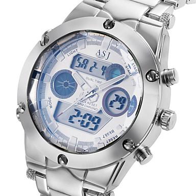 Недорогие Часы на металлическом ремешке-ASJ Муж. Спортивные часы Наручные часы Японский Кварцевый Нержавеющая сталь Серебристый металл 30 m Защита от влаги Будильник Календарь Аналого-цифровые Роскошь Gunmetal Watch - Белый Черный Синий