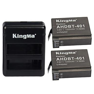 kingma® 2pcs rechargebale ahdbt-401 bateria de 1200mAh + Carregador Dual USB para GoPro Hero 4 siler preto bateria da câmera