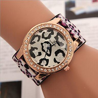 Mulheres Relógio de Moda Quartzo imitação de diamante Couro Banda Leopardo Azul Vermelho Verde Roxa Amarelo