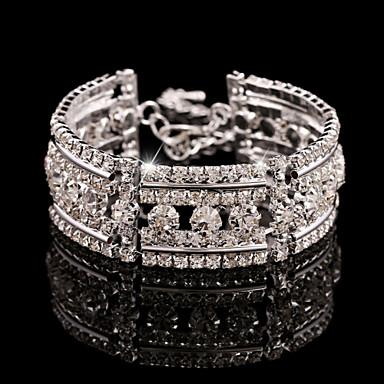 Homens Mulheres Feminino Pulseiras em Correntes e Ligações Bracelete Pulseiras Prata Cristal Strass Liga Jóias Para Casamento Festa