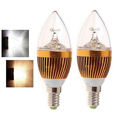 2pcs 4W 400-450lm E14 LED Λάμπες Κεριά 5LED LED χάντρες COB Θερμό Λευκό Ψυχρό Λευκό 85-265V
