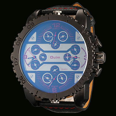 Oulm Ανδρικά Χαλαζίας Γιαπωνέζικο Quartz Στρατιωτικό Ρολόι Hot Πώληση Τριπλές Ζώνες Ώρας Διπλές Ζώνες Ώρας Δέρμα Μπάντα Πολυτέλεια