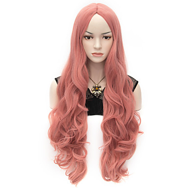 Γυναικείο Συνθετικές Περούκες Χωρίς κάλυμμα πολύ μακριά Κυματομορφή Σώματος Ροζ Απόκριες Περούκα Καρναβάλι περούκα φορεσιά περούκες