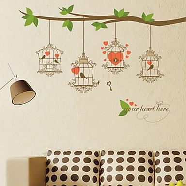 muurstickers muur stickers stijl groene tak vogelkooi pvc muurstickers