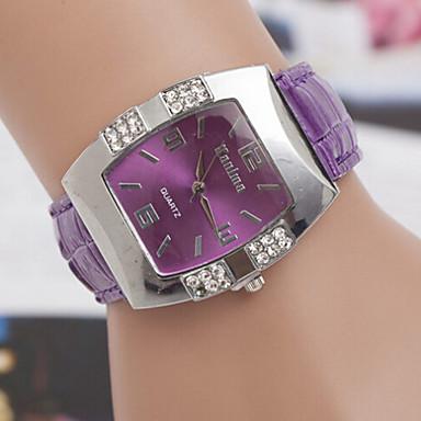 Mulheres Relógio de Moda Quartzo Relógio Casual Couro Banda Elegant Preta Azul Rosa Roxa