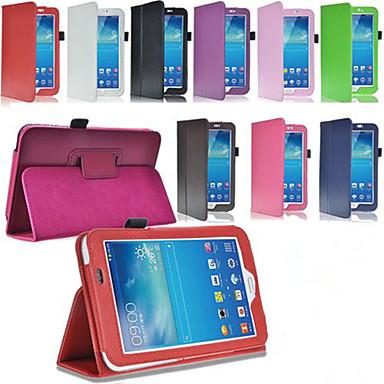 Para Samsung Galaxy Capinhas Com Suporte / Flip Capinha Corpo Inteiro Capinha Cor Única Couro PU Samsung Tab 3 10.1 / Tab 3 7.0