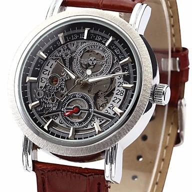 WINNER Masculino Relógio de Pulso relógio mecânico Automático - da corda automáticamente Calendário PU Banda Luxuoso Preta MarromPreto