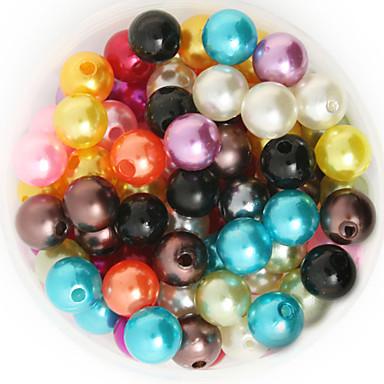 beadia 92g (aprox 200pcs) abs pérolas 10 milímetros rodada mista cor de plástico solta pérolas acessórios de jóias DIY