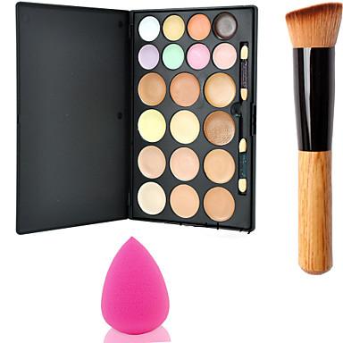 15colors paleta rosto contorno pó espelho de maquiagem + 1pcs pincel de pó + esponja sopro