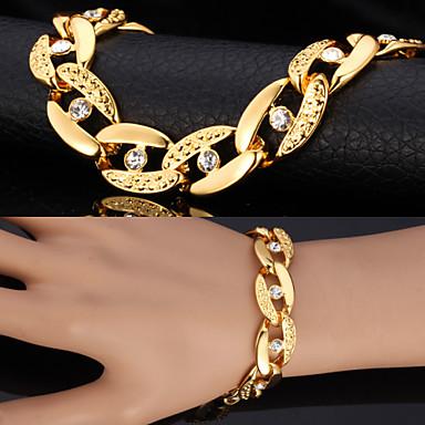 Bărbați Diamant sintetic Brățări cu Lanț & Legături Bratari Vintage Figaro lanț chunky Solitaire Declarație femei Personalizat Modă Dubai Ștras Bijuterii brățară Argintiu / Auriu Pentru Cadouri de