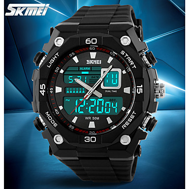 SKMEI Ανδρικά Αθλητικό Ρολόι / Ρολόι Καρπού / Ψηφιακό ρολόι Συναγερμός / Ημερολόγιο / Χρονογράφος καουτσούκ Μπάντα Φυλαχτό Μαύρο / Ανθεκτικό στο Νερό / LCD / Διπλές Ζώνες Ώρας