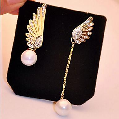 Druppel oorbellen Parel imitatie Diamond Legering Wings Goud Sieraden Voor 2 stuks