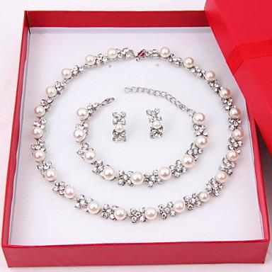 Γυναικεία Μαργαριτάρι Προσομειωμένο διαμάντι Κοσμήματα Σετ 1 Κολιέ 1 Ζευγάρι σκουλαρίκια 1 Βραχιόλι - Κομψή Circle Shape Λευκό Σετ