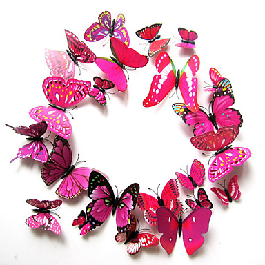 pacote de 12 pcs adesivos de parede, moderna vida da cidade adorável estéreo pvc rosa borboleta adesivos de parede