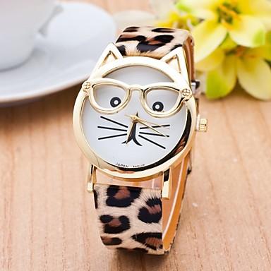Mulheres Relógio de Moda Quartzo Gato PU Banda Desenhos Animados Leopardo Preta Branco Azul Marrom Rosa Cores Múltiplas Bege Rose