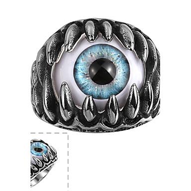 maya klassieke individuele delicate royaal hars cat eye roestvrij staal man ring (zwart) (1st)