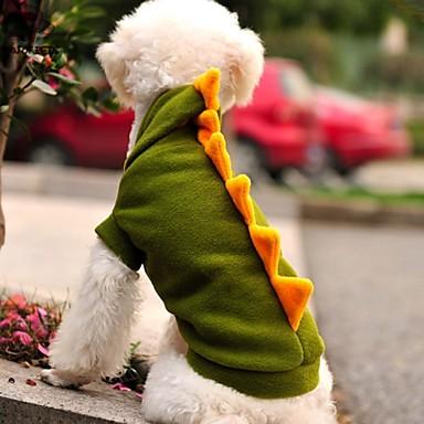 Kat Hond kostuums Outfits Hoodies Hondenkleding Cartoon dier Groen Fleece Kostuum Voor huisdieren Cosplay Bruiloft Halloween