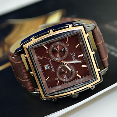 Men's Watch Dress Watch Calendar Rectangle Dial Wrist Watch Cool Watch Unique Watch Fashion Watch