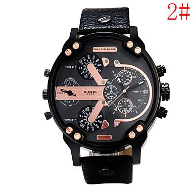 levne Pánské-Pánské Vojenské hodinky Křemenný Velkoformátové Kůže Černá / Hnědá / Vícebarevný 30 m Analogové 4# 5# 6# Dva roky Životnost baterie