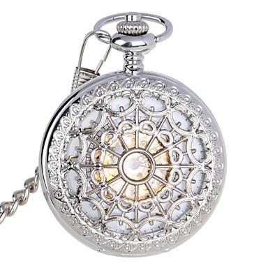 Bărbați Mecanism automat ceas mecanic Ceas de buzunar Rezistent la Apă Gravură scobită Oțel inoxidabil Bandă Lux Argint