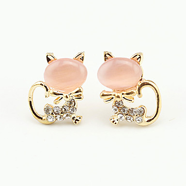 Women's Cubic Zirconia Stud Earrings - Cubic Zirconia Platinum Plated Animal Ladies European Cute Jewelry White / Green / Pink For Party Daily