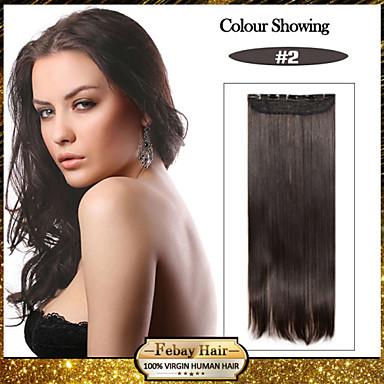 5 clips lange rechte donkerbruin synthetisch haar clip in hair extensions voor dames