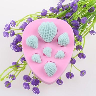 επτά φράουλες φοντάν κέικ καλούπια σιλικόνης σοκολάτα, διακόσμηση εργαλεία bakeware