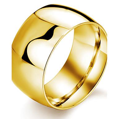 Homens Anéis Grossos Fashion Aço Titânio Chapeado Dourado Jóias Festa Diário Casual Esportes