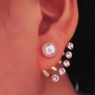 Women's Cute Pearl Imitation Pearl Rhinestone Drop Earrings - Classic Earrings For Daily Casual