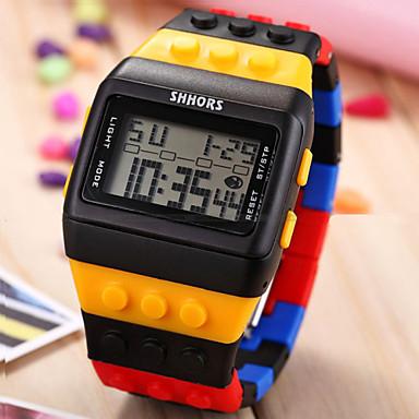 Masculino Relógio de Pulso Relógio Madeira Relogio digital Digital LCD Calendário Cronógrafo alarme Relógio Esportivo Plastic BandaCores