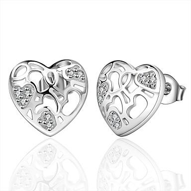 Naisten Tyttöjen Niittikorvakorut Kristalli Heart Hopeoitu Heart Shape Korut Käyttötarkoitus Häät Party Päivittäin Kausaliteetti