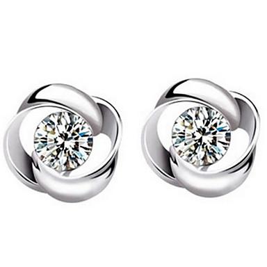 Oorknopjes Sterling zilver Kristal Bloemvorm Zilver Sieraden Voor Dagelijks Causaal Sport 2 stuks