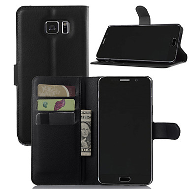Недорогие Чехлы и кейсы для Galaxy Note-Кейс для Назначение SSamsung Galaxy Note 7 / Note 5 / Note 4 Кошелек / Бумажник для карт / со стендом Чехол Однотонный Кожа PU