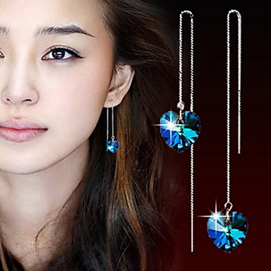 Dames Druppel oorbellen Hart Kristal Legering Hartvorm Sieraden Voor Dagelijks Causaal Sport