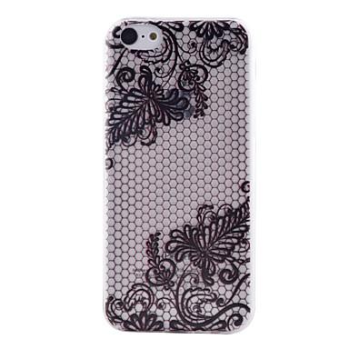 zwart kant patroon transparant TPU materiaal zacht dunne mobiele telefoon Case voor iPhone 5c