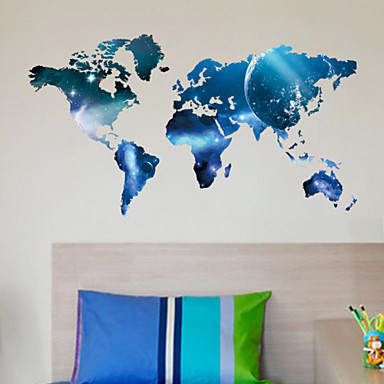 planet wereldkaart muurstickers kunst decals